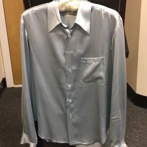 Equipment Blue silk shirt